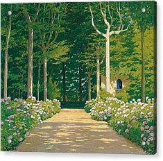Hydrangeas On A Garden Path Acrylic Print by Santiago Rusinol i Prats