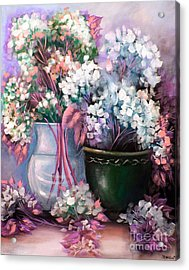Acrylic Print featuring the painting Hydrangeas Still Life Pink by Patrice Torrillo