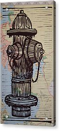 Hydrant On Map Acrylic Print by William Cauthern