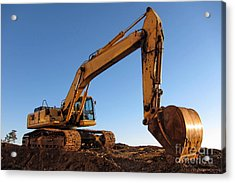 Hydraulic Excavator Acrylic Print by Olivier Le Queinec