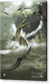 Hydrotherosaurus And Tylosaurus Acrylic Print by Jan Sovak