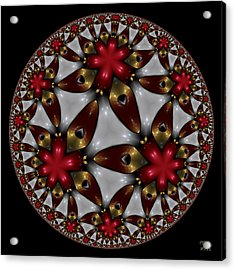 Acrylic Print featuring the digital art Hyper Jewel I - Hyperbolic Disk by Manny Lorenzo