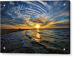Acrylic Print featuring the photograph Hypnotic Sunset At Israel by Ron Shoshani