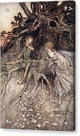 I Am That Merry Wanderer Of The Night Acrylic Print by Arthur Rackham