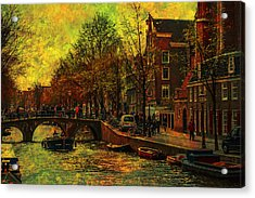 I Amsterdam. Vintage Amsterdam In Golden Light Acrylic Print by Jenny Rainbow