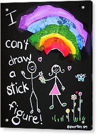 I Can't Draw A Stick Figure Mixed Media Kids Room Painting Acrylic Print