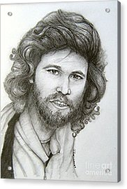 Acrylic Print featuring the drawing Barry Gibb by Patrice Torrillo