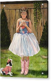 Acrylic Print featuring the painting I Dressed Myself by Donna Tucker
