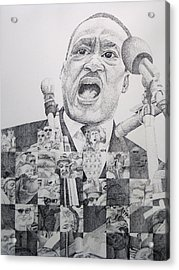 Acrylic Print featuring the drawing I Have A Dream Martin Luther King by Joshua Morton