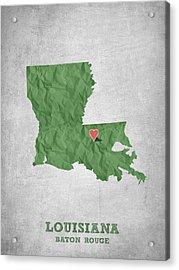 I Love Baton Rouge Louisiana - Green Acrylic Print