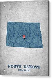 I Love Bismarck North Dakota - Blue Acrylic Print by Aged Pixel