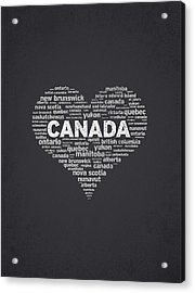 I Love Canada Acrylic Print by Aged Pixel