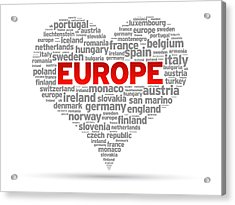 I Love Europe Acrylic Print by Aged Pixel