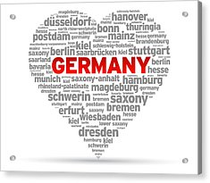 I Love Germany Acrylic Print by Aged Pixel