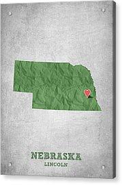I Love Lincoln Nebraska - Green Acrylic Print