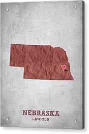 I Love Lincoln Nebraska - Red Acrylic Print