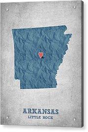 I Love Little Rock Arkansas - Blue Acrylic Print by Aged Pixel