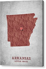 I Love Little Rock Arkansas - Red Acrylic Print by Aged Pixel