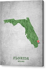 I Love Miami Florida - Green Acrylic Print by Aged Pixel