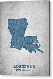I Love New Orleans Louisiana - Blue Acrylic Print