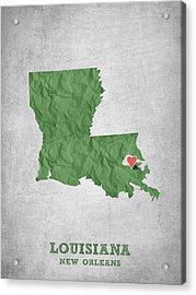 I Love New Orleans Louisiana - Green Acrylic Print