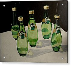 Perrier Bottled Water, Green Bottles, Conceptual Still Life Art Painting Print By Ai P. Nilson Acrylic Print