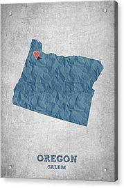 I Love Salem Oregon- Blue Acrylic Print by Aged Pixel