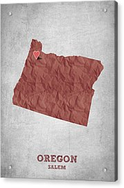 I Love Salem Oregon- Red Acrylic Print by Aged Pixel