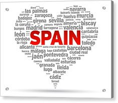 I Love Spain Acrylic Print by Aged Pixel