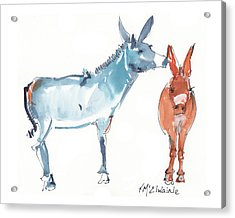 I Love You Donkey Art Watercolor Painting By Kmcelwaine Acrylic Print