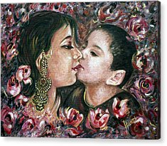 Acrylic Print featuring the painting I Love You Mom by Harsh Malik
