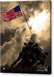 I Pledge Allegiance To The Flag - Iwo Jima 20130211v2 Acrylic Print by Wingsdomain Art and Photography