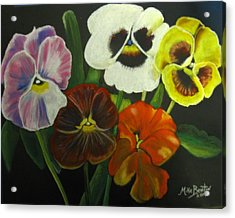 I See Your Pansies Acrylic Print