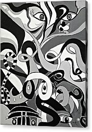I Seek U - Abstract Eye Paintings, Black And White Eye Art - Ai P. Nilson Acrylic Print