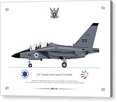 Acrylic Print featuring the drawing Iaf Aermacchi M346i by Amos Dor