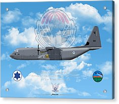 Acrylic Print featuring the drawing Iaf C-130j Shimshon by Amos Dor