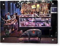 Iberico Ham Shop In La Boqueria Market In Barcelona Acrylic Print by David Smith
