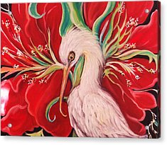 Acrylic Print featuring the painting Ibis And Red Flower by Yolanda Rodriguez