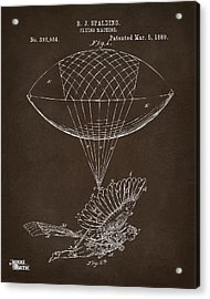 Acrylic Print featuring the drawing Icarus Airborn Patent Artwork Espresso by Nikki Marie Smith