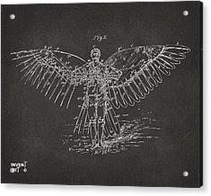Icarus Flying Machine Patent Artwork Gray Acrylic Print
