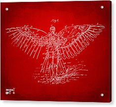 Icarus Flying Machine Patent Artwork Red Acrylic Print
