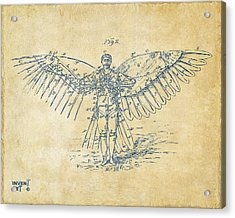 Icarus Flying Machine Patent Artwork Vintage Acrylic Print