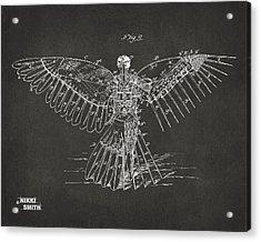 Icarus Human Flight Patent Artwork - Gray Acrylic Print