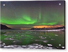 Ice And Auroras Acrylic Print by Frank Olsen
