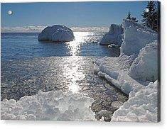 Ice Cold Day On Lake Superior Acrylic Print by Sandra Updyke
