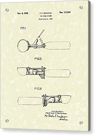 Ice Cream Scoop 1938 Patent Art Acrylic Print