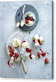 Ice Cream With Strawberries Acrylic Print by Annabelle Breakey