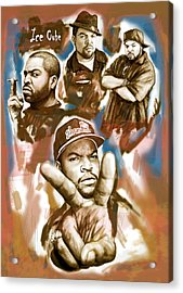 Ice Cube Group Drawing Pop Art Sketch Poster Acrylic Print