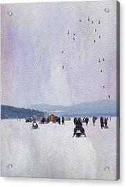 Ice Fishing And Snowmobiles  Acrylic Print