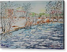 Acrylic Print featuring the painting Ice Floes On River Rednitz by Alfred Motzer